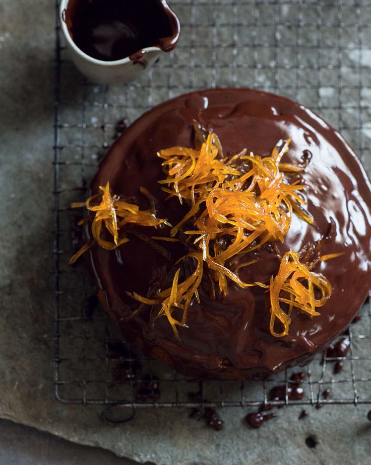 Bitter chocolate-hazelnut cake with candied grapefruit recipe from New Feast by Greg Malouf | Cooked