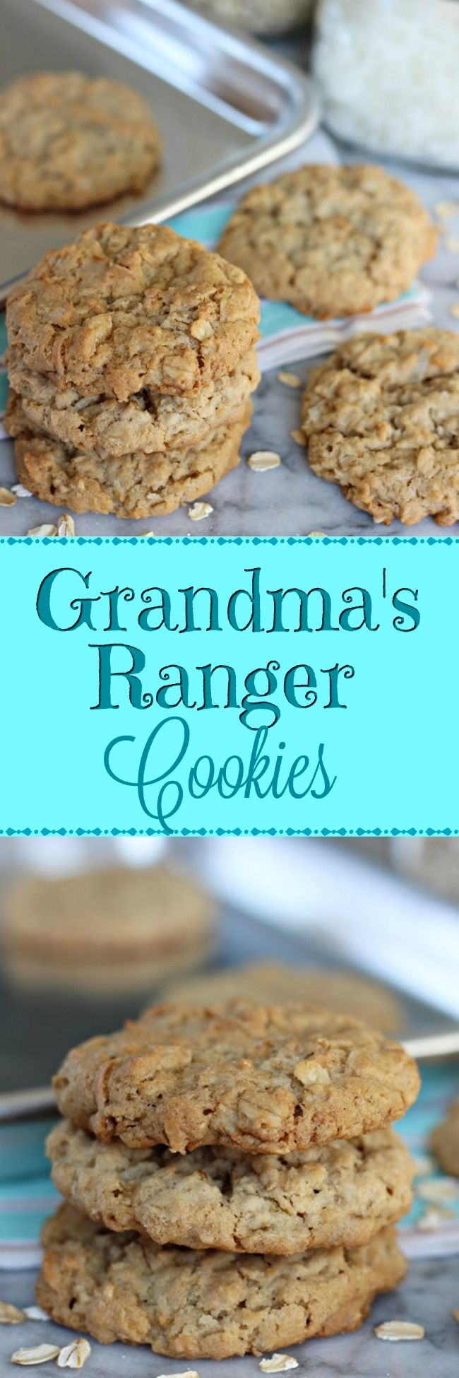 Grandma's Ranger Cookies – A chewy, hearty, perfectly sweet cookie made with old-fashioned oats, flaked coconut, and Rice Krispies. Great for dunking! | www.worthwhisking.com