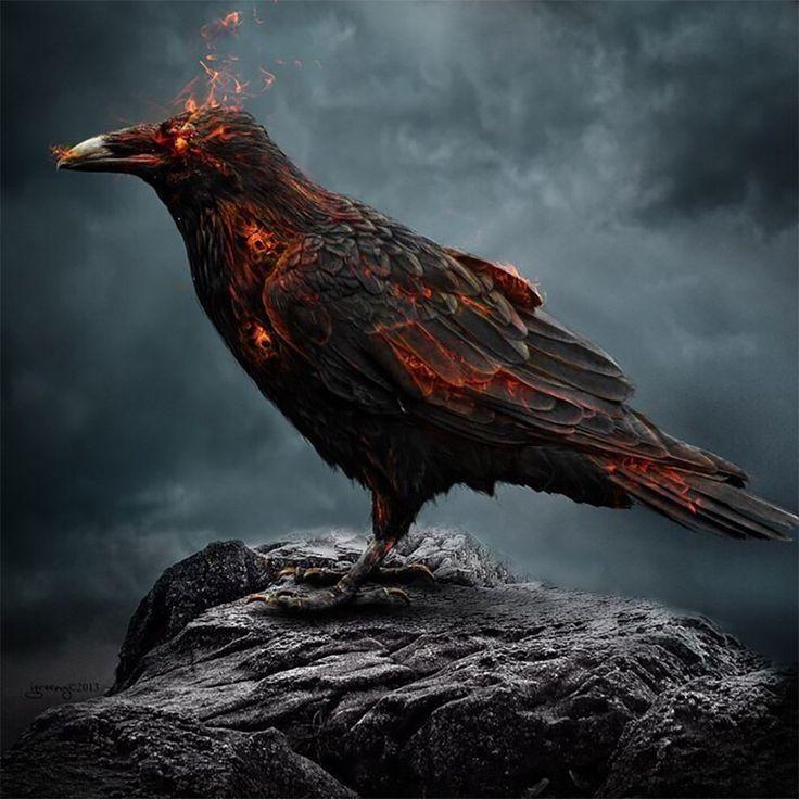 картинки ворона в огне одета своем собственном