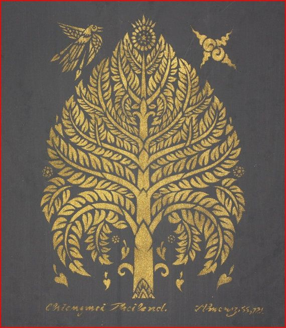 Thai traditional stencil art of bodhi tree by spray paint on the stencil on cotton. ฿1,500.00, via Etsy.