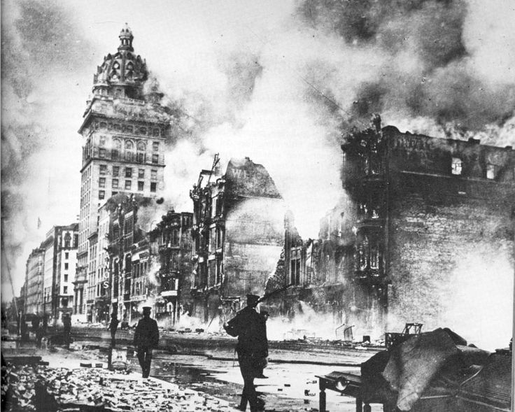 The great San Francisco earthquake of 1906 was followed by horrendous fires - all the water mains were ruptured so there was no water with which to fight them