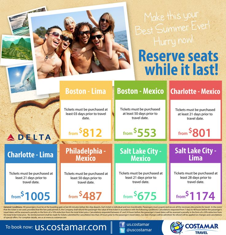 Flights to Lima and Mexico, now boarding! Get your tickets while seats are available. >>>Cllick here to book your trip. >> http://us.costamar.com/ #Travel #Cheap #Fares #CheapTickets #DELTA #Friends #Beach #Summer #Vacation