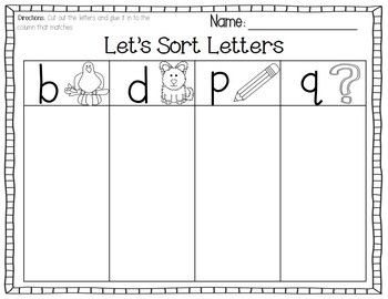 b d p q cut paste letter sort free cut and paste class work letter sorting learning. Black Bedroom Furniture Sets. Home Design Ideas