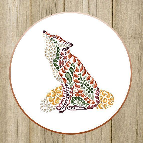 PDF. Fox of leaves. Cross stitch pattern, modern cross stitch, cross stitch animal, multicolor. Digital Download PDF by SecretFriends on Etsy