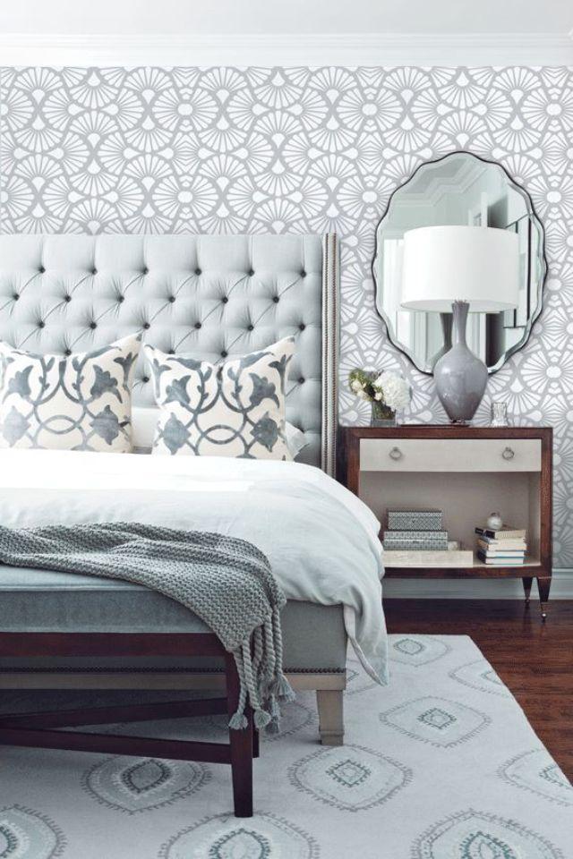 Grey tone bedroom opulent headboard hotel chic