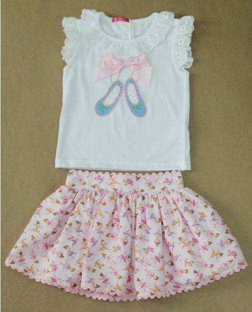 VR210-Conjunto falda camiseta bailarinas niña Nini                              …
