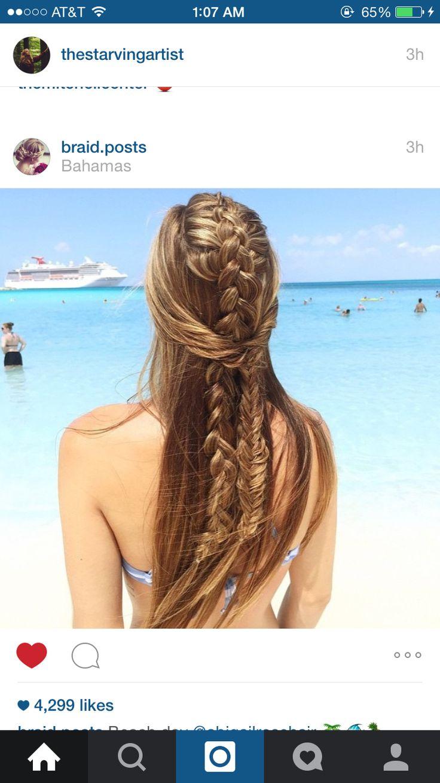 Cute dutch braid with fishtail half updo by braid.post