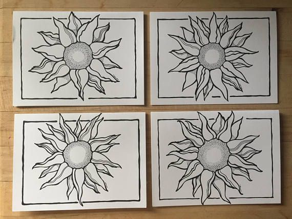 Set of 4 blank cards with envelopes for any occasion. Beautiful hand-drawn sunflowers on each card. Each card is a small piece of art that could be framed and hung in any room. I used Pigma Micron pens to draw the flowers on heavy cardstock paper.  Card size: 5 x 7  *this is a one of a kind product if you are interested in more than 4, please message me
