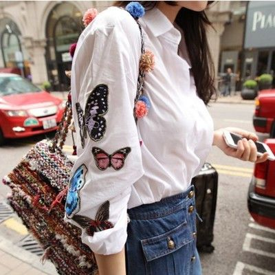 Fascinating White Butterfly Embroidery Long Sleeve