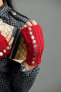 Steampunk-style fingerless mitts. Notions: yarn needle, eighteen (18) 3/4-inch vintage-looking buttons, matching thread, sewing needle.