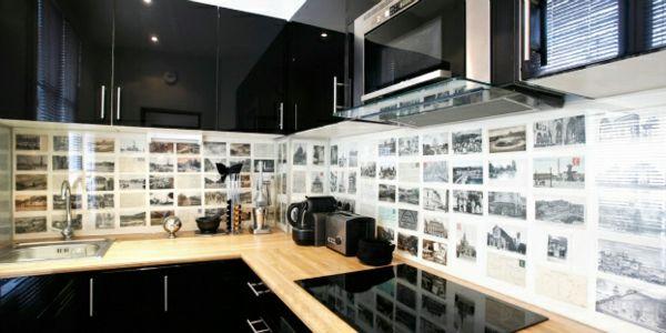 frische küchenspiegel ideen - schwarzweiße Fotos Küche - ideen für küchenspiegel