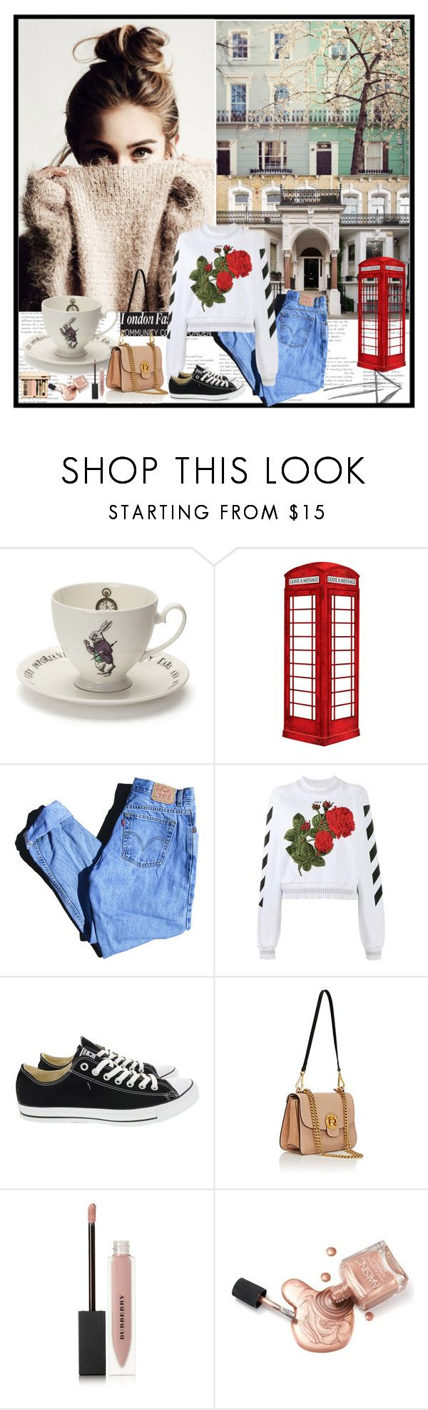 """""""Untitled #731"""" by im-a-daydreamer ❤ liked on Polyvore featuring Mrs Moore, jcp, Levi's, Off-White, Converse, Chloé and Burberry"""