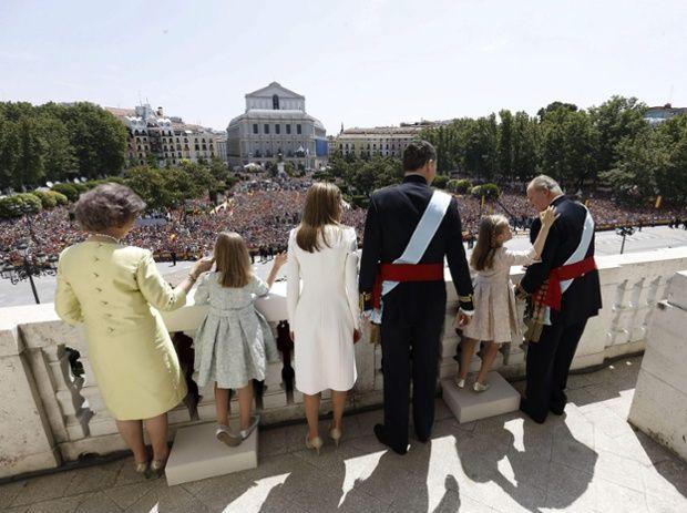 Dona Sofia, Princess Leonor of Asturias, King Felipe VI of Spain, Princess Sofia, Queen Letizia and Don Juan Carlos appear on the balcony of the Royal Palace in Madrid.