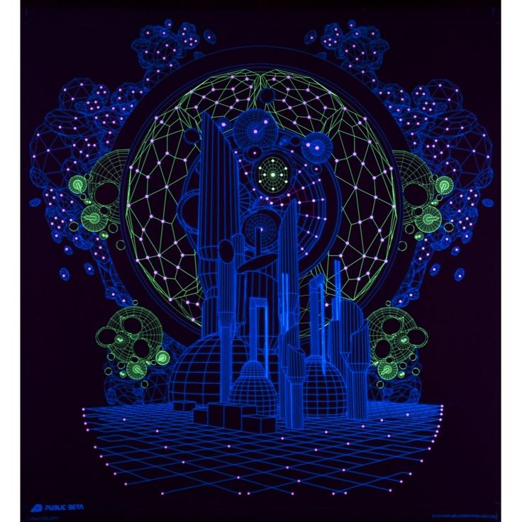 Colony UV D62 Wallhanging by Public Beta Wear Psychedelic designs for wall deco. Glows in blacklight. 3D effect with special Chromadepth glasses.