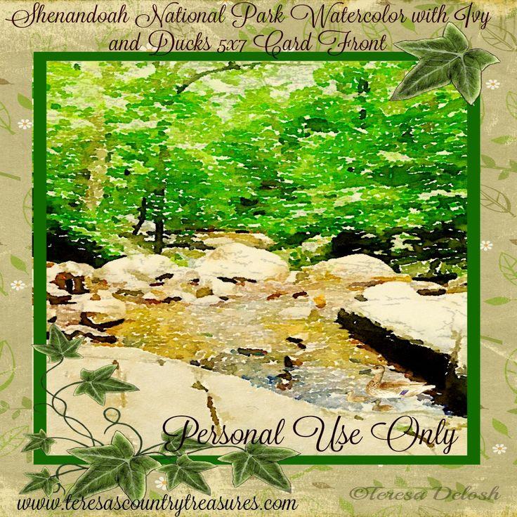 #ShenandoahPark #Watercolor 5 x 7 #Photograph #Card Front #Printable