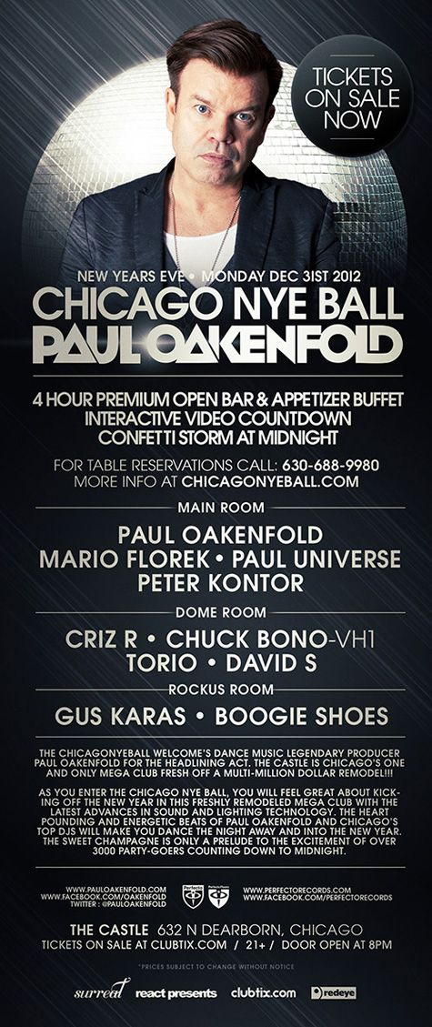 Last Chance for Tickets to The Chicago NYE Ball w/Paul Oakenfold at The Castle Preview Party, Limited Tickets at The Door