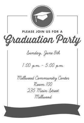 """""""Ribbon Graduation""""  printable invitation template. Customize, add text and photos. Print or download for free!"""