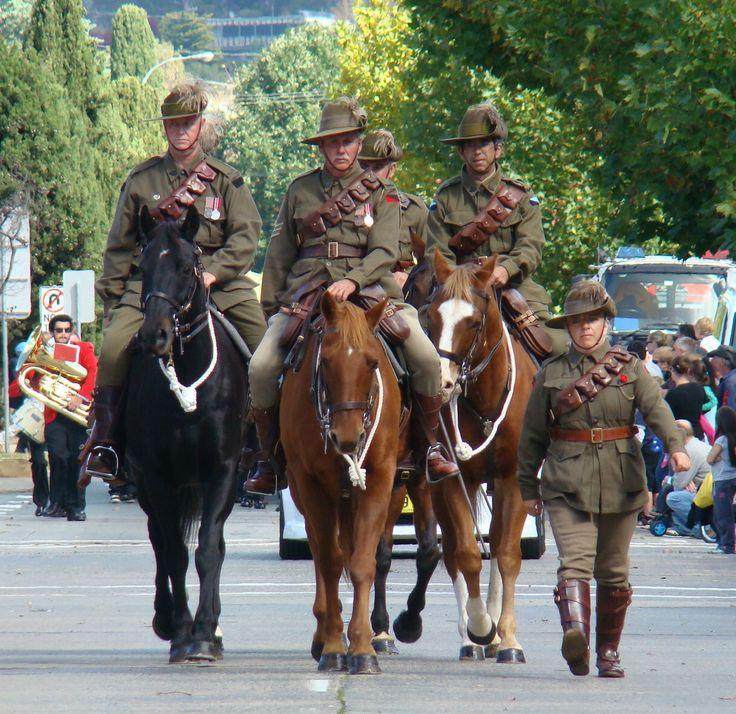 Australian Light Horse commemorative volunteers in Queanbeyan, NSW, Australia.  Anzac Day 2010.