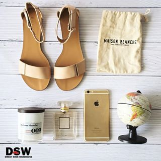 This gorgeous flat lay has all our Spring essentials: Luisa Nude Sandals by Billini, Chanel perfume and @maisonblancheau Strawberries and Champagne scented candle. http://www.dswshoe.com.au