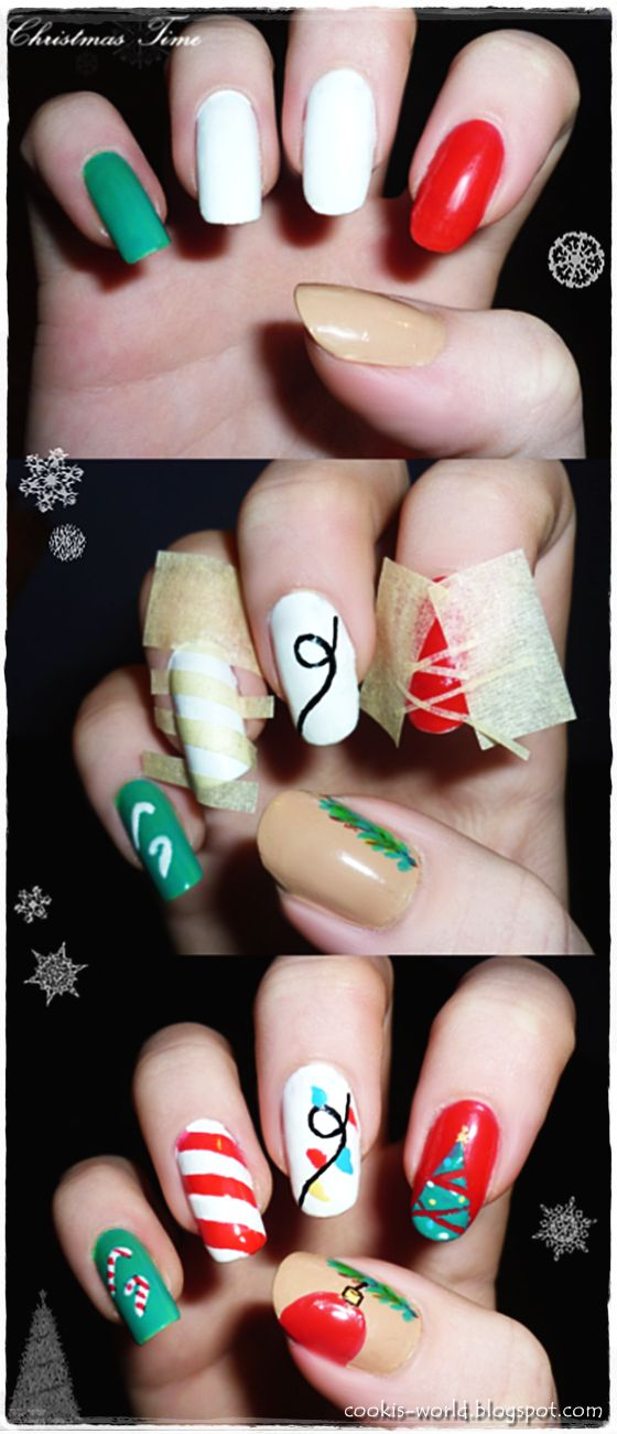 Cooki's World: Christmas Nail Art Tutorial check out www.MyNailPolishObsession.com for more nail art ideas.