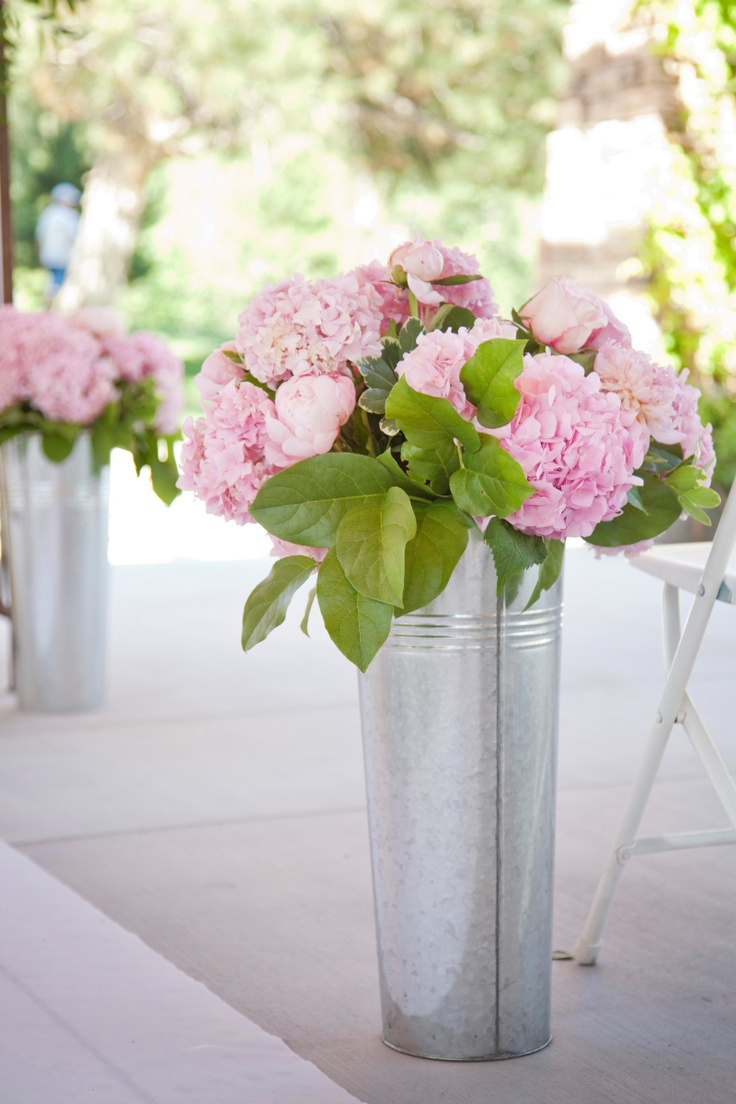 Pink hydrangeas in tin buckets white flowers the