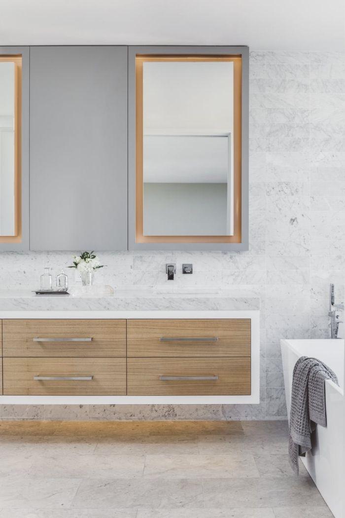 34++ Salle de bain carrelage gris meuble bois ideas in 2021