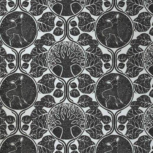 Woodland Story - Charcoal - Artisanal Wallpaper from The Wallpaper Collective