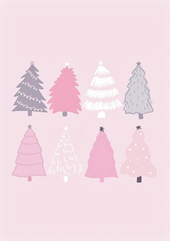 Christmas Tree Illustration Print Christmas Wall Art Xmas Print Pink Christmas Trees Wall Print A Cute Christmas Wallpaper Iphone Wallpaper Christmas Wallpaper