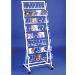 8-Tiered CD Rack for Floor, Holds up to 256 CDs, with Wheels - White