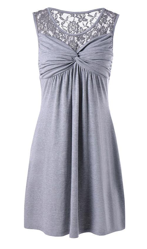 Twist Front Lace Trim Sleeveless Dress