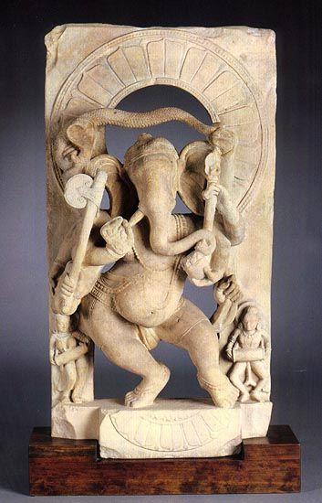 Dancing Ganesha India (Uttar Pradesh), 9th-10th century Beige sandstone, 29 1/2 in (74.9 cm)