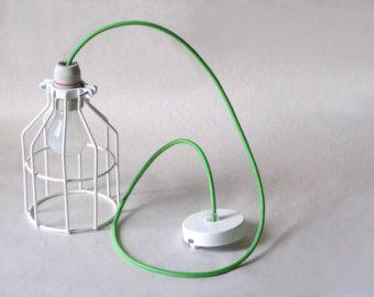 Industriële verlichting Mint groene draad kooi licht door IndLights