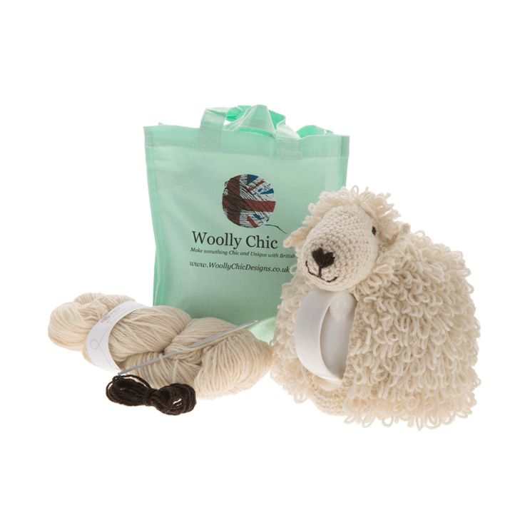 AS FEATURED IN SIMPLY CROCHET, SIMPLY KNITTING & THE KNITTER Kit includes: Pattern and 100g Woolly Chic Welsh wool, 3.0 mm Crochet Hook, Welsh Black Mountain yarn for eyes and nose, Fibrefill stuffing Makes a cosy that fits a 4 cup tea pot.