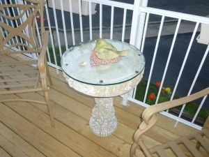 DIY Project: Glass Top Bird Bath Table