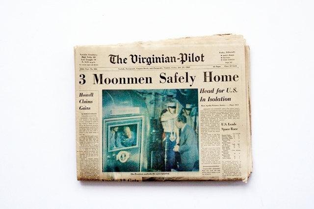 Original July 25, 1969 Newspaper - Moonmen Headlines,  The Virginian-Pilot Newspaper, Complete Paper in Four Sections, 1960s Pop Culture.   via Etsy.