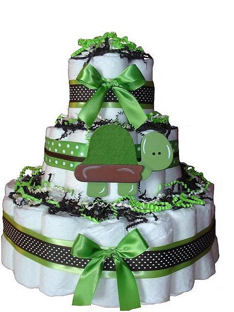 Turtle Diaper Cake @Annie Watson good boy cake idea....