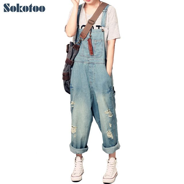 Top Sale $26.91, Buy Sokotoo Women's casual loose denim overalls Lady's hole ripped baggy jeans Wide leg pants for woman