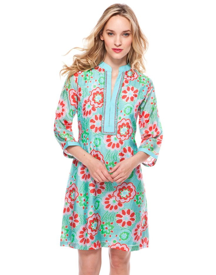 Whimsy Print Dress with Sleeves - Turquoise