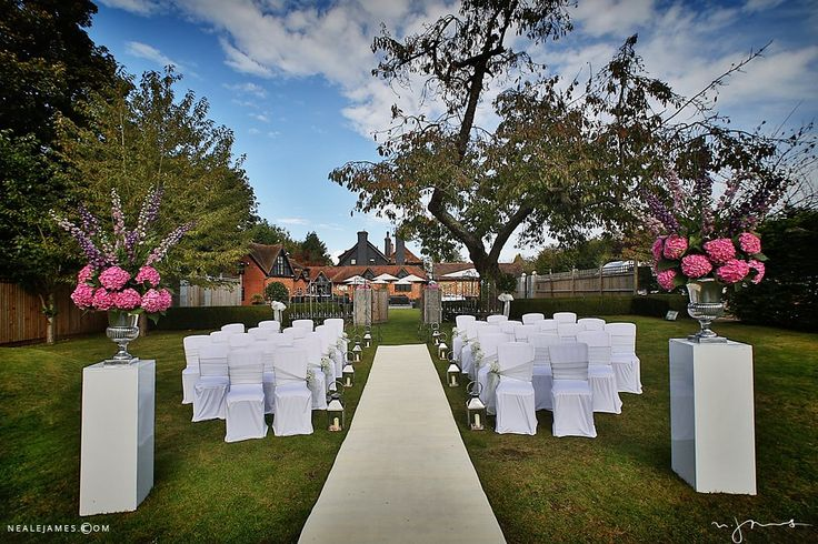Gardens at Sanctum on the Green set up for an outdoor civil ceremony
