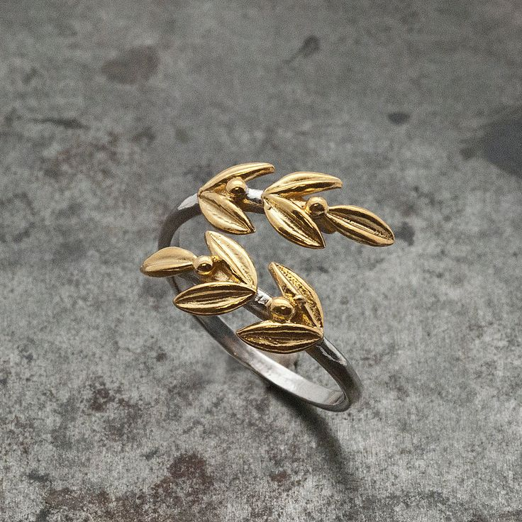 Gold Olive Leaves Ring, Twisted Olive Twig Elegant Ring, Adjustable Handmade Women's Delicate Ring, Goddess Athena Symbol Greek Jewelry http://etsy.me/2F6ZdqA #jewelry #ring #gold #silver #women #no #oliveleafring
