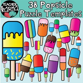 36 Popsicle Puzzle Templates!! Create your own puzzles and games! Each DIY puzzle comes in a color and a blackline version. The thick, strong lines make them easy to cut.These templates would be just perfect for...   * Reading game* Math game* Literacy center* Intervention activity* Introducing new concepts************************These graphics may be added to your classroom materials and resource products that you sell.These graphics are intended for you to create your own teaching…