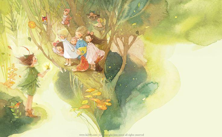 "Kim Min Ji, ""Peter Pan"" illustration.  This picture is so darling."