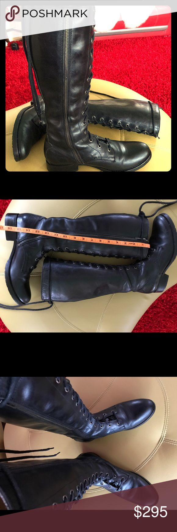 """Tall Frye Melissa Boots, Size 8.5US Women Great pair of Frye Tall Lace Up Melissa Boots! In pre-owned condition with minor blemishes. 16.5"""" tall. They sell for $458 new. Make me an offer. Frye Shoes Lace Up Boots"""