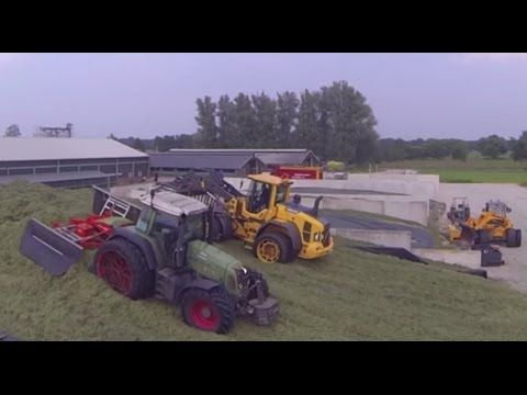 Gras inkuilen in een Bosch Beton sleufsilo bij het Voercentrum in Wouden...