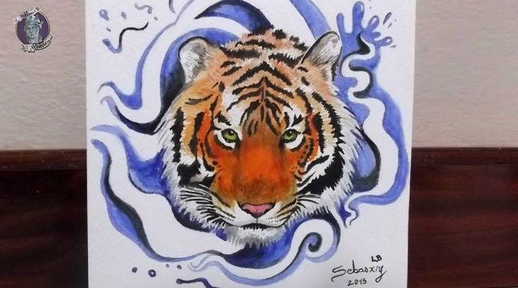 Tigre a color,Acrílico sobre papel acuarela.Diseño/ Idea para tattoo. Sebastian Marin. Tattoo Athenea.