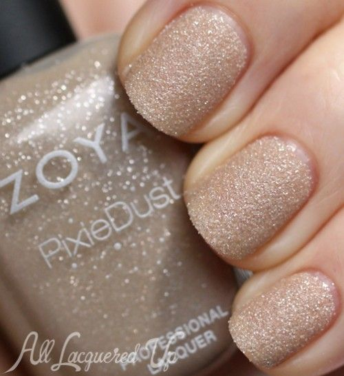 I really didn't like the OPI sandpaper polish I tried, but maybe I'll see how Zoya does it.   Zoya Godiva PixieDust sand texture nail polish swatch