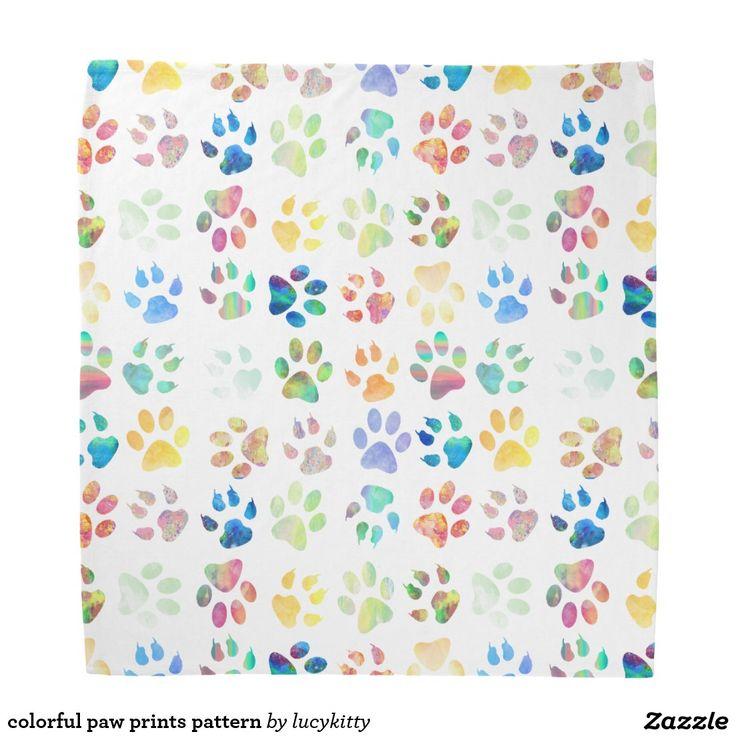 colorful paw prints pattern bandana