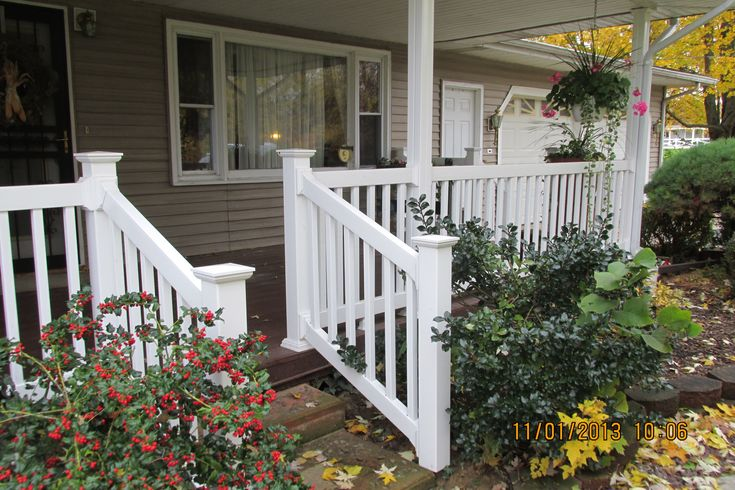 Vinyl railing beautifully accents front porches both large and small.