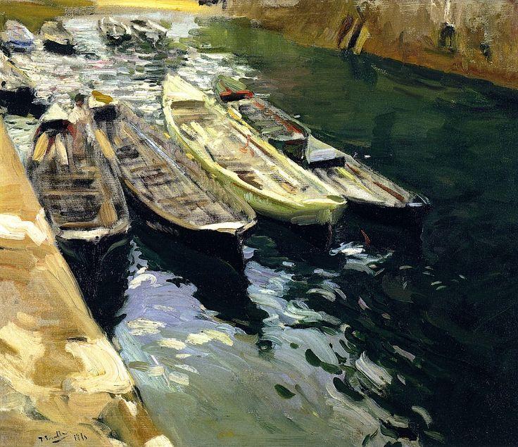 Fishing Boats, Port of Zarauz / Joaquin Sorolla y Bastida - 1910