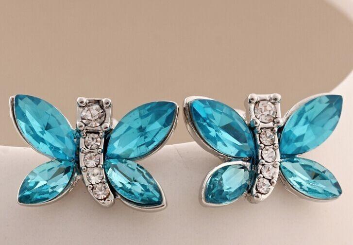 Vlinder oorbellen koper zirkoon blauw